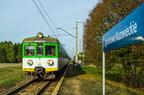 EN57-1610 -- EN57-1610 z pociągiem z Ostrołęki wjeżdża na przystanek Zygmuntowo Mazowieckie.