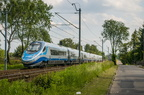 ED250-019 -- Ekspres Intercity Premium z Bielska Białej na szlaku między przystankami Katowice Piotrowice i Katowice Podlesie.