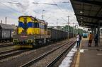 771 515-4 -- Ciężka lokomotywa manewrowa 771 przewoźnika AWT wyciąga skład wagonów na stację Ostrava hl.n. Obok grupa czeskich pasjonatów kolei.