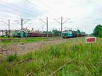 Pociągi towarowe w Wyszkowie -- Lokomotywy PKP Cargo SM42-434 i ET22-821 na stacji w Wyszkowie.