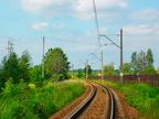 Pierwszy kilometr linii Tłuszcz - Ostrołęka -- Łuk tuż przed stacją Tłuszcz na wysokości szopy Kolei Mazowieckich.