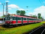 """EN57-1056 -- Jednostka przewozów regionalnych jako pociąg IR ,,Żubr"""" z Warszawy Zachodniej do Białegostoku oczekuje na odjazd."""