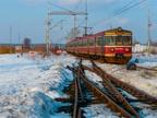 EN57-804 -- EN57-804 wypożyczony od Przewozów Regionalnych odjeżdża z Wyszkowa na pociągu do Ostrołęki.