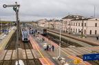 Stacja Białystok -- Widok z kładki peronowej na południową głowicę stacji w kierunku Warszawy.