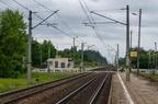Łapy Osse -- Widok na przystanek kolejowy Łapy Osse w kierunku Warszawy.