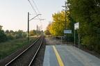 Rybienko - peron po remoncie -- Wyremontowana nawierzchnia peronowa. Pas ziemi uwidacznia o ile został skrócony peron.