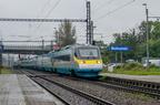 682 005-4 -- Pendolino ETR470 Kolei Czeskich z pociągiem z Pragi kończy bieg na stacji Bohumin, by później być udostępniony do zwiedzania z okazji Dnia Kolei 2017. Pierwszy egzemplarz po montażu nowych siedzeń.