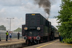 """Ol49-69 -- Pociąg turystyczny """"Jaćwież"""" z Suwałk do Papierni rusza ze stacji początkowej."""