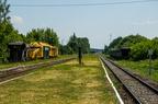 Stacja Śniadowo -- Perony stacji Śniadowo w okresie remontu linii kolejowej pod Ostrołęką. Widok w kierunku Łap.