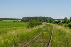 Linia kolejowa Śniadowo - Łomża -- Wyjazd ze stacji Śniadowo w kierunku Łomży. Tor w fatalnym stanie z maksymalną prędkością drogową 20 km/h.