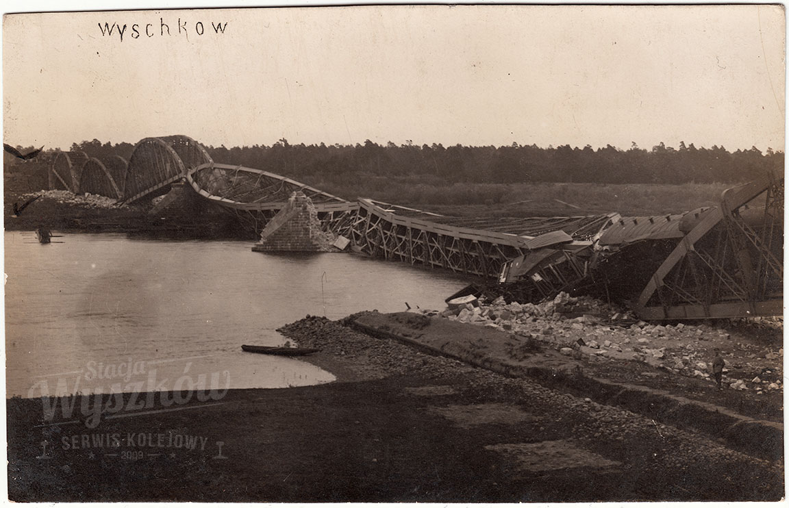 Most kolejowy w Wyszkowie po wysadzeniu, 1915 rok